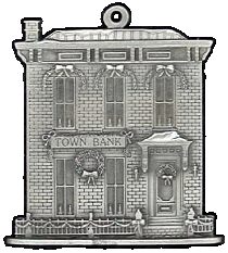 Town Bank Pewter Stock Ornament - front