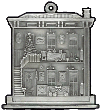 Town Bank Pewter Stock Ornament - Back