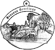 Sleigh & Covered Bridge pewter Christmas ornament