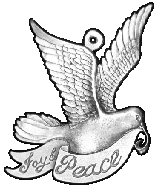 Dove, Joy, Peace pewter Christmas ornament