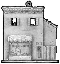 General Store Pewter Stock Ornament - front