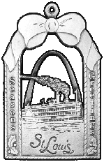 St. Louis Arch & Steamboat pewter Christmas ornament