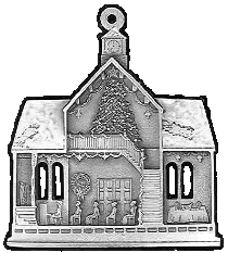 Town Hall Pewter Stock Ornament - back