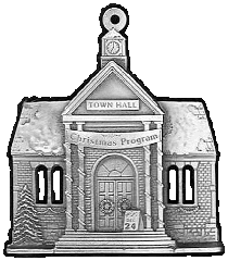 Town Hall Pewter Stock Ornament - front