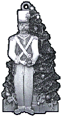 Toy Soldier by Tree pewter Christmas ornament